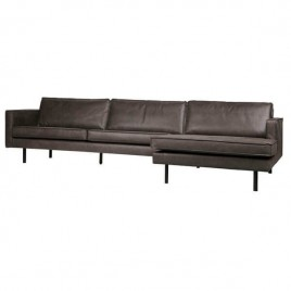 sofá chaise longue negro piel Rodeo